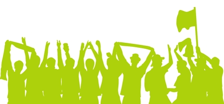 Silhouette of cheering fans in green photo