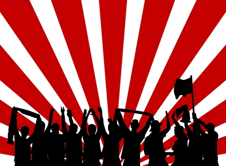 cheering fans: Red and white background with silhouette of cheering fans