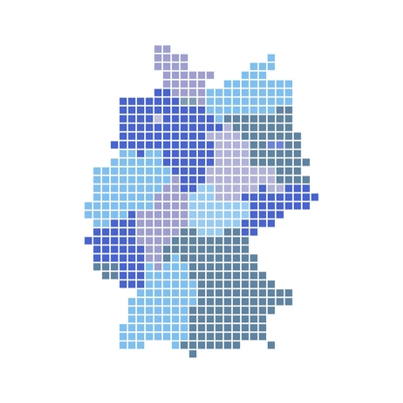 bremen: Germany map with states in shades of blue Stock Photo