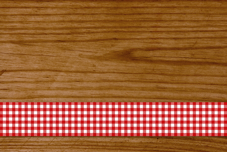 Wooden board with red and white stripes in the pattern tablecloths photo