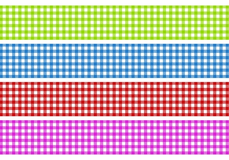 4 strips with tablecloths pattern in green, blue, red and pink photo