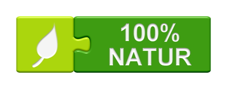 preservative: Puzzle Button 100 percent Nature Stock Photo
