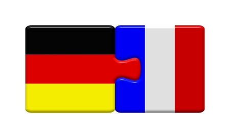Puzzle button  Germany and France Stockfoto