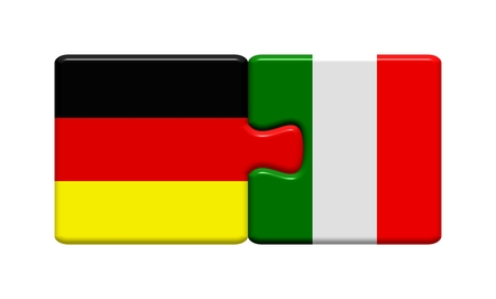 Puzzle button  Germany and Italy