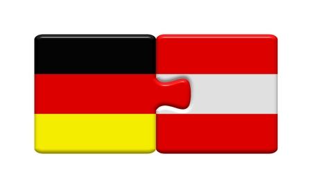 dialect: Puzzle button  Germany and Austria Stock Photo