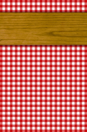 Tablecloths pattern with red with white wooden board photo