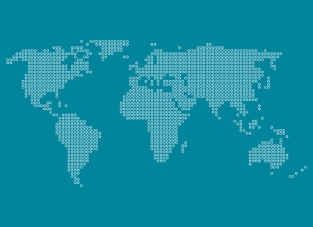 White dotted world map on blue background photo