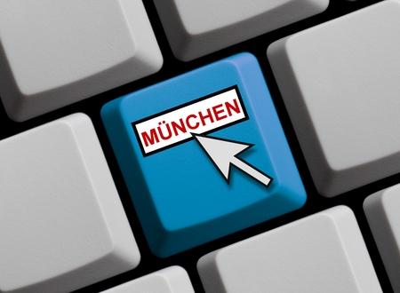 ortsschild: Munich online Stock Photo