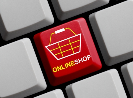 online shop: Computer Keyboard with Symbol showing online shop