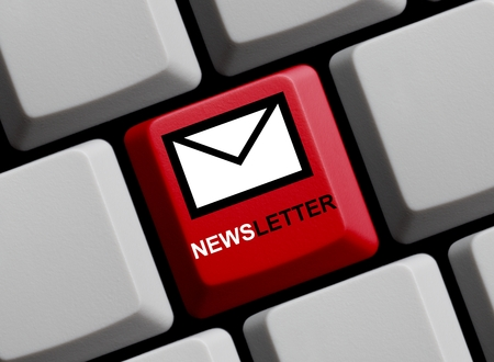 news letter: Computer Keyboard with Symbol showing newsletter online Stock Photo