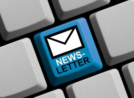news letter: Computer Keyboard blue with Newsletter Symbol online