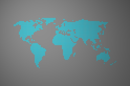 exempted: Blue Pixel Word map on grey background Stock Photo