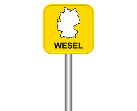 warmly: Sign of german city Wesel Stock Photo