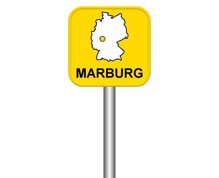 ortseingangsschild: Zeichen der Stadt Marburg Deutsch