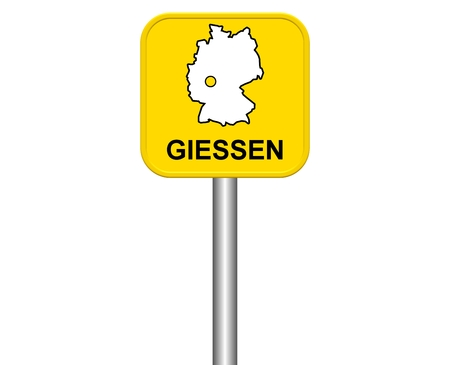 warmly: Sign of german city Giessen Stock Photo