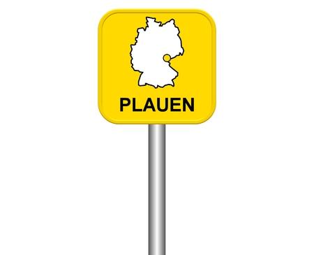 warmly: Sign of german city Plauen