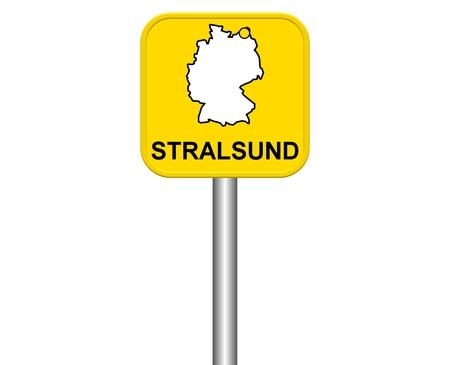 warmly: Sign of german city Stralsund Stock Photo