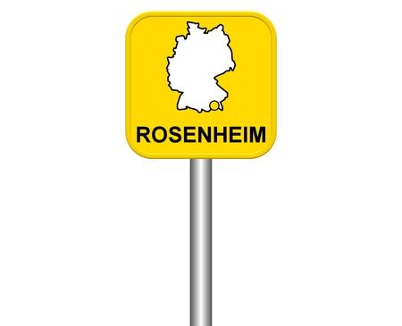 warmly: Sign of german city Rosenheim