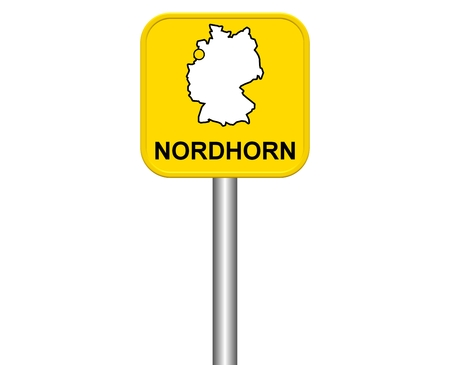 warmly: Sign of german city Nordhorn Stock Photo