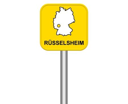 warmly: Sign of German city Rüsselsheim