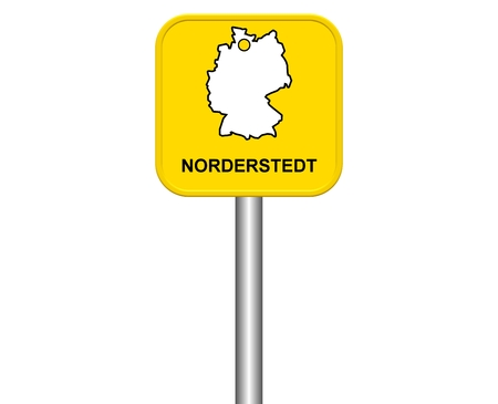 warmly: Sign of german city Norderstedt Stock Photo