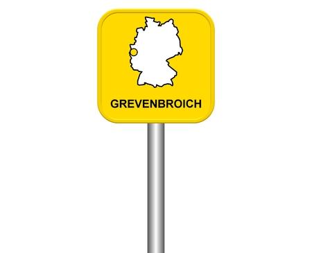 warmly: Sign of german city Grevenbroich