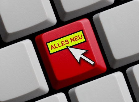 novelties: Computer Keyboard with mouse arrow showing everything new in german language