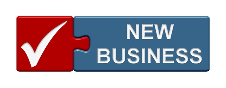 exempted: Puzzle Button new business Stock Photo