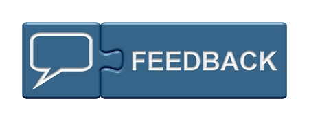 exempted: Puzzle Button Feedback Stock Photo