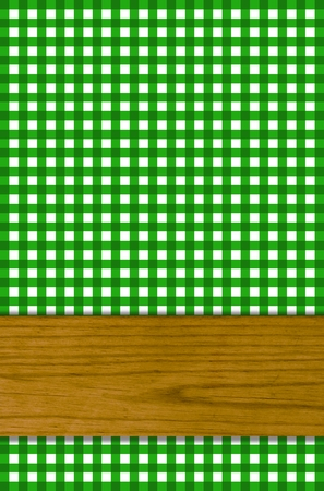 transom: Green tablecloth with wooden beams as background