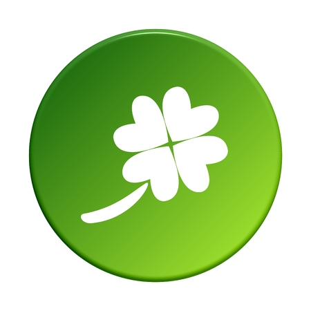 four leaved: Button green shamrock Stock Photo
