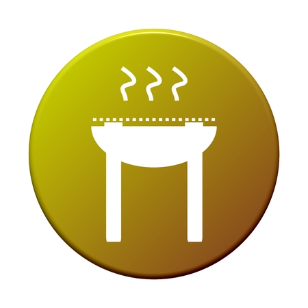 griller: Round Button showing icon symbol of Grill