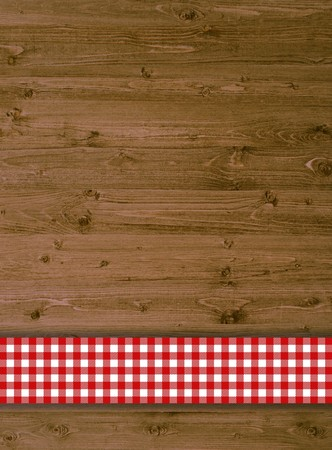 timber: Timber background with red tablecloth Stock Photo