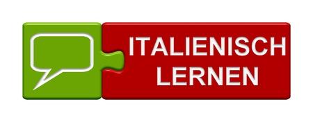 Pulsante Puzzle imparare l'italiano Archivio Fotografico - 33512083