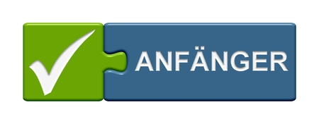 novice: Puzzle Button Beginner Stock Photo