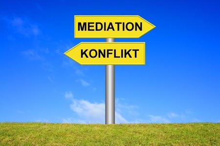 ortsschild: Mediation  Conflict