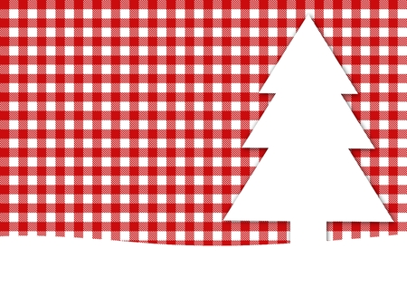 Christmascard with tablecloth red white photo