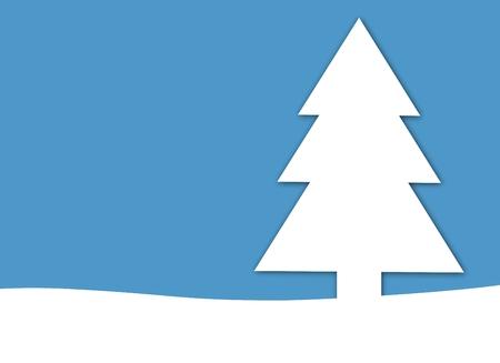 Christmas Card tree Background on blue photo