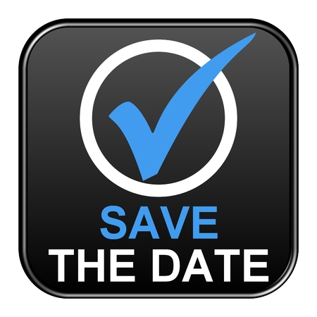 Save the Date Botón Negro Foto de archivo - 33941115