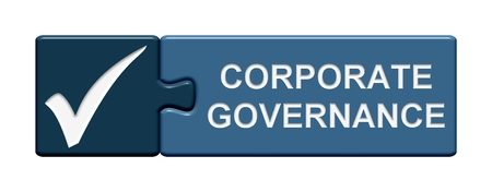 corporate governance: Puzzle Button: Corporate Governance Stock Photo