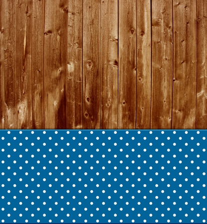 Traditional vintage background with wooden planks and blue tablecloth photo