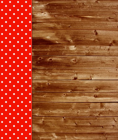 red tablecloth: Traditional vintage background with wooden planks and red tablecloth Stock Photo