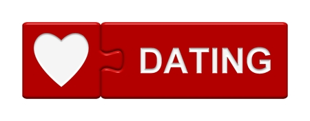 internet dating: red Puzzle Button with heart symbol showing Dating