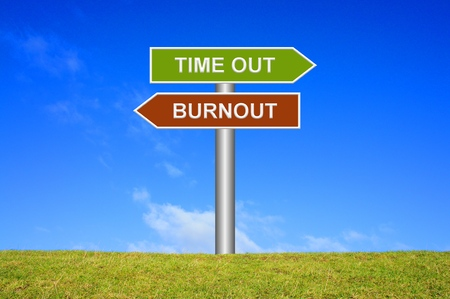 burnout: Signpost showing directions Time out or Burnout Stock Photo
