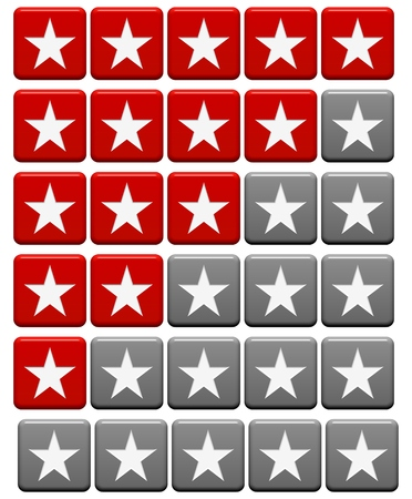 0 to 5: Isolated Rating System with buttons red and grey from 5 stars to 0 stars