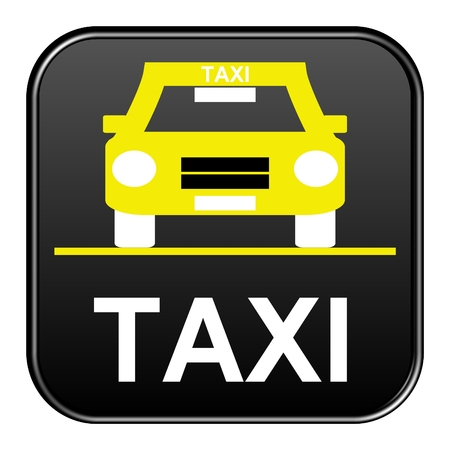 black button: Modern isolated black Button with symbol showing Taxi
