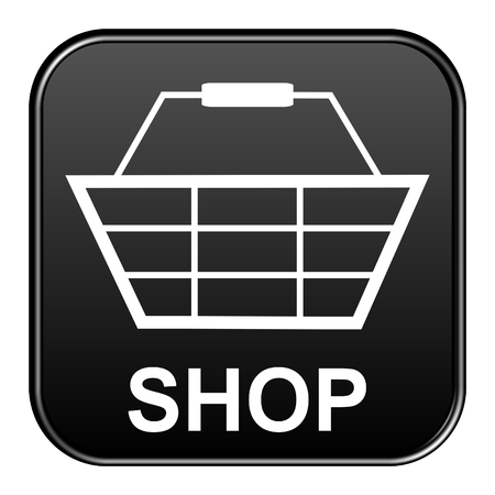 onlineshop: Modern isolated black Button with symbol showing Shop Stock Photo