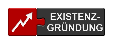 founding: Isolated Puzzle Button with symbol showing business startup in german language