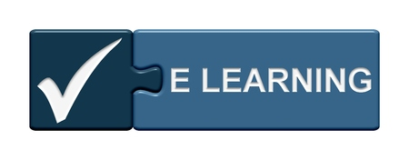 e learning: Isolated Puzzle Button with symbol showing E learning