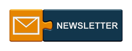 Isolated Puzzle Button with symbol showing Newsletter Banque d'images